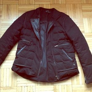 The Kooples Black leather accented winter jacket